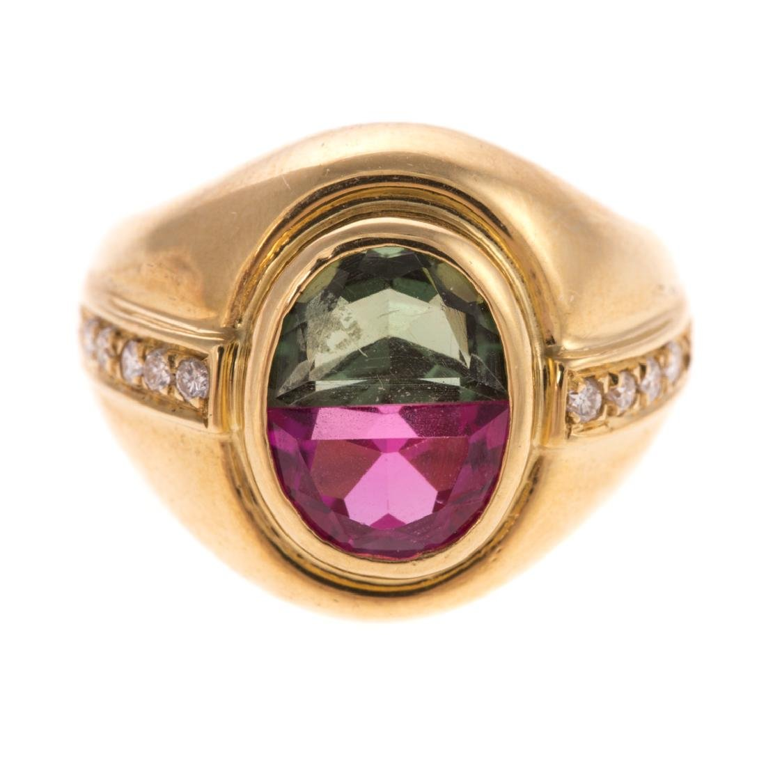 A Lady's 18K Pink & Green Tourmaline Ring