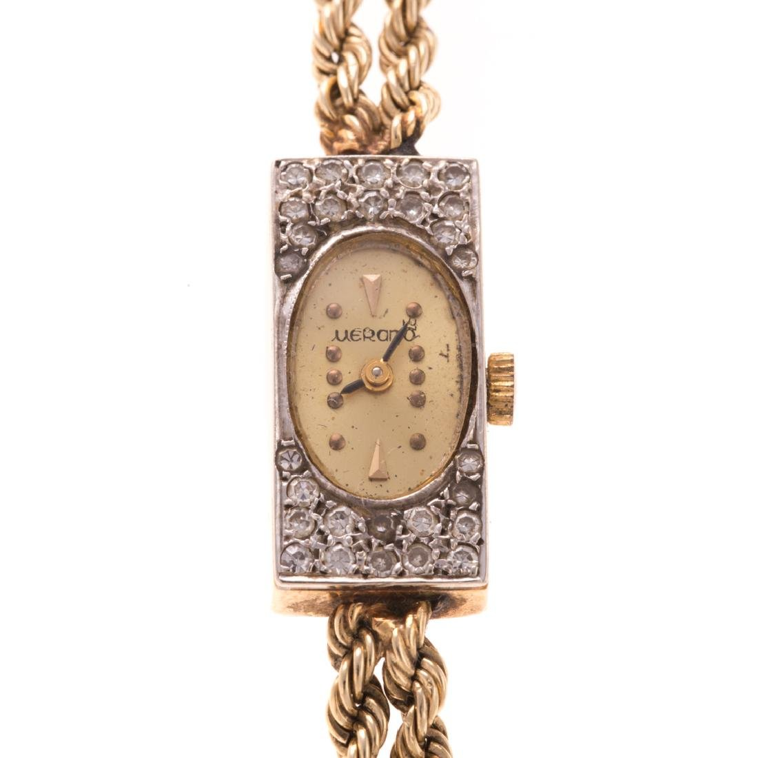 A Lady's Murano Watch with Diamonds in 14K Gold