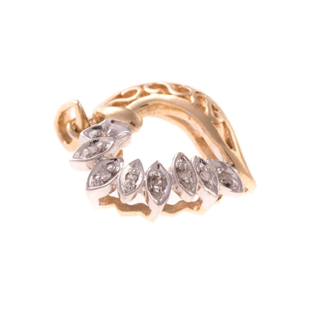 A Trio of Diamond Open Heart Pendants in Gold - 2