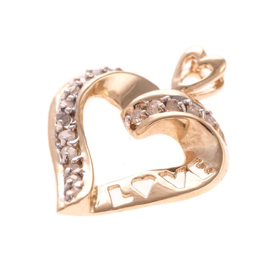 A Trio of Diamond Open Heart Pendants in Gold - 3