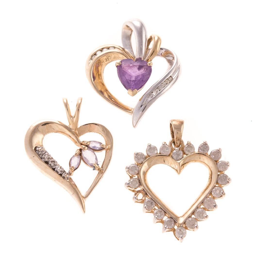 A Trio of Lady's Diamond & Gemstone Heart Pendants