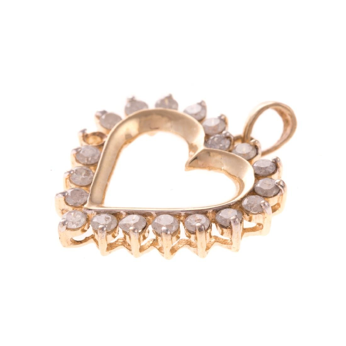 A Trio of Lady's Diamond & Gemstone Heart Pendants - 4