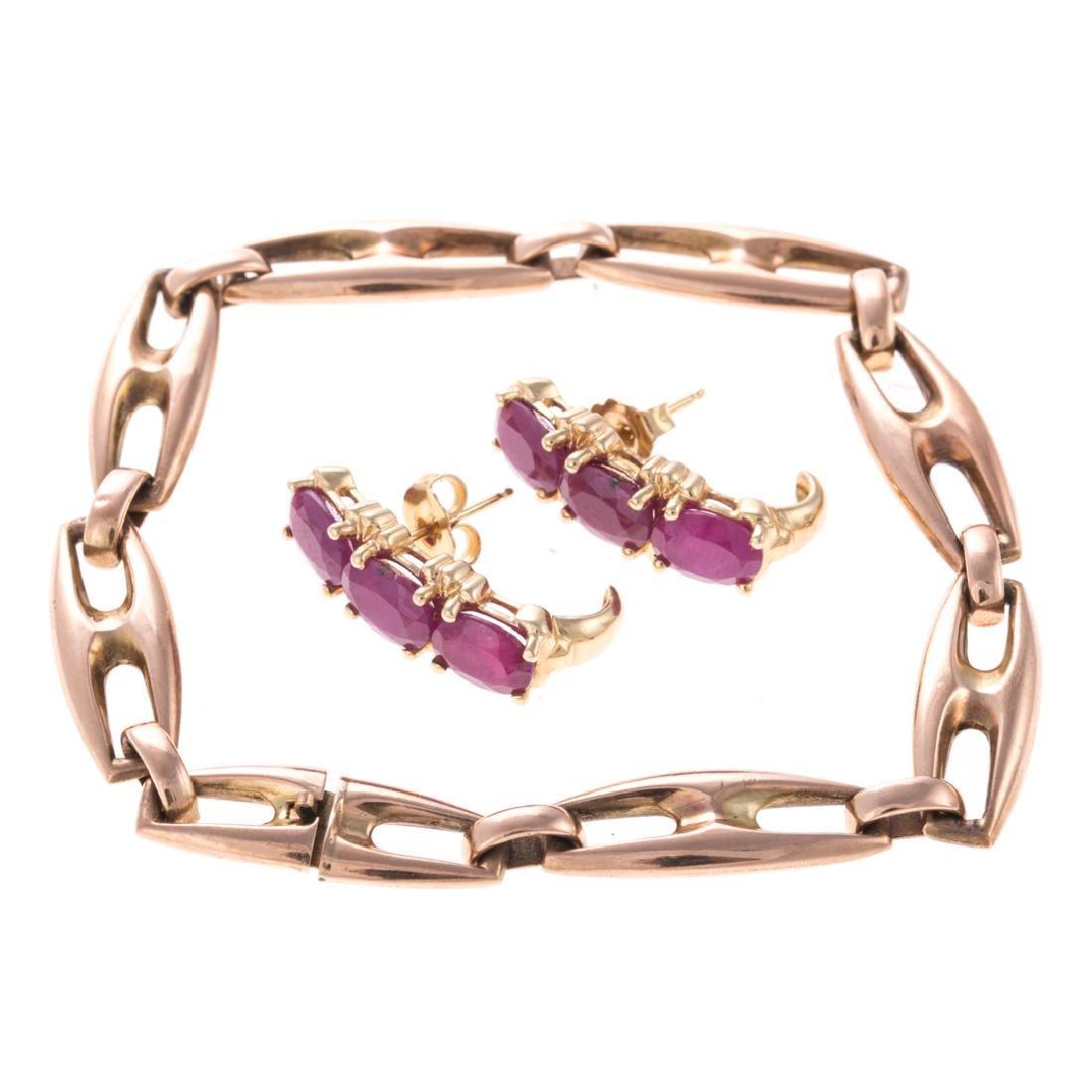 A Pair of Ruby Earrings in 14K & Vintage Bracelet
