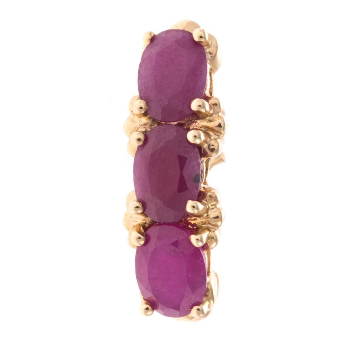 A Pair of Ruby Earrings in 14K & Vintage Bracelet - 4