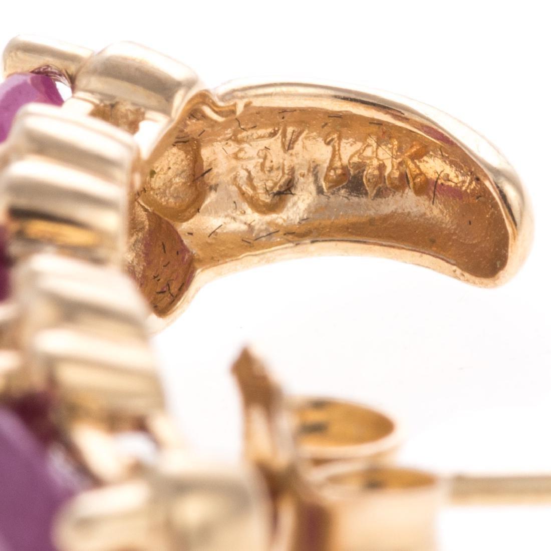 A Pair of Ruby Earrings in 14K & Vintage Bracelet - 5