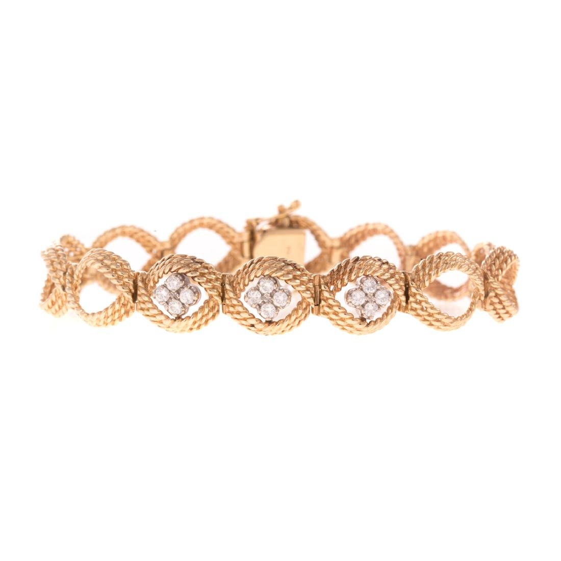 A Lady's Rope Link & Diamond Bracelet in 14K