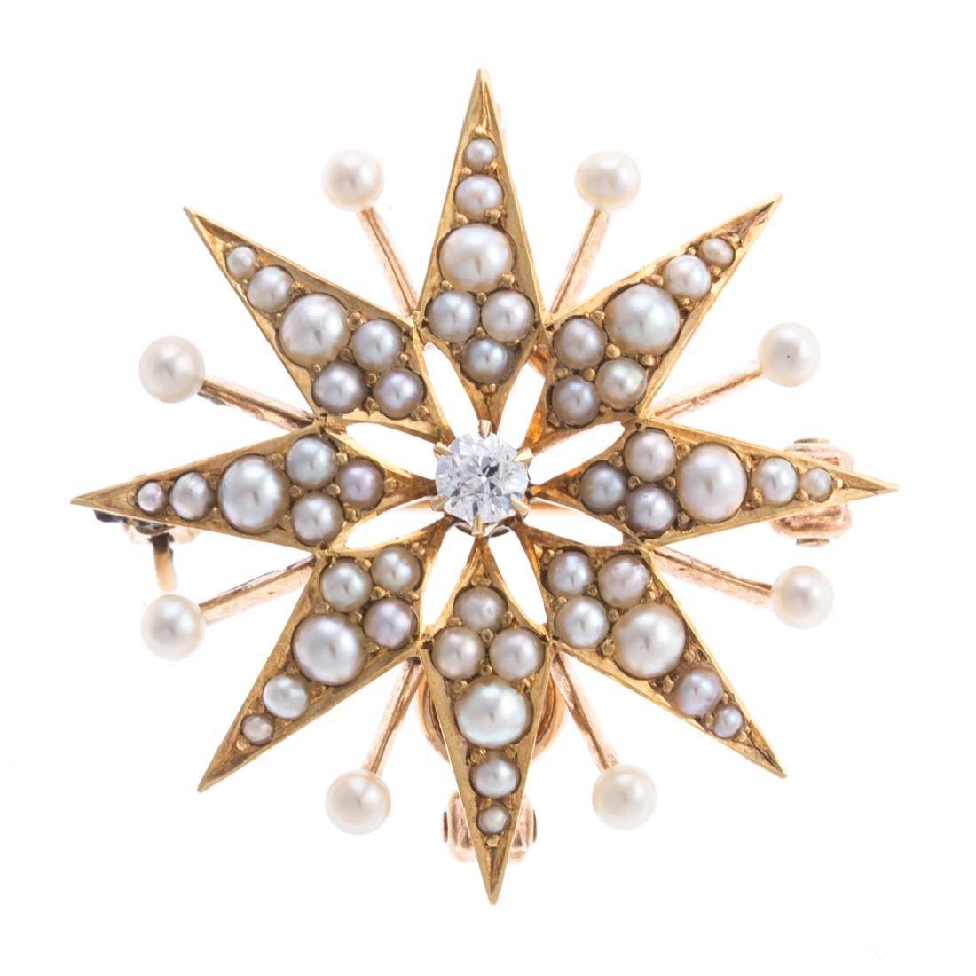 A Lady's Seed Pearl & Diamond Starburst Pin