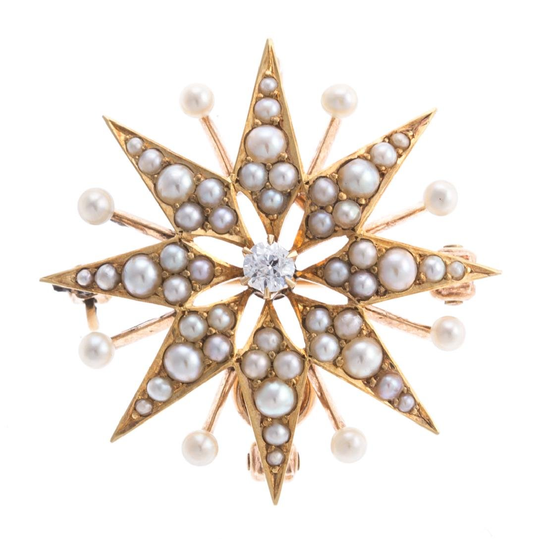 A Lady's Seed Pearl & Diamond Starburst Pin