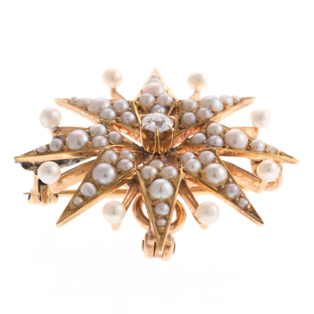 A Lady's Seed Pearl & Diamond Starburst Pin - 2