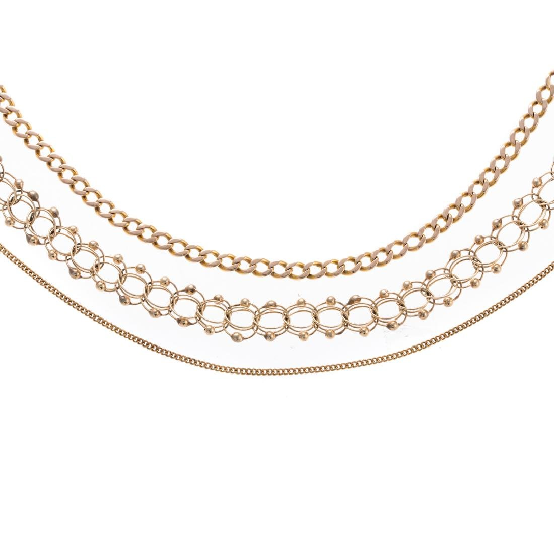 A Collection of Gold Chain Necklaces & Bracelets