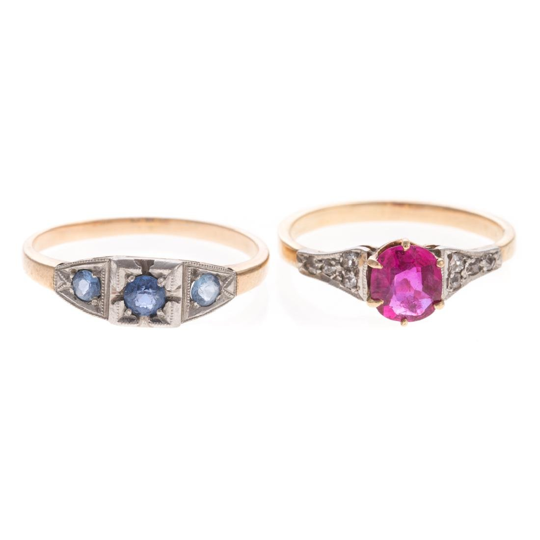 A Pair of Victorian Gemstone & Diamond Rings