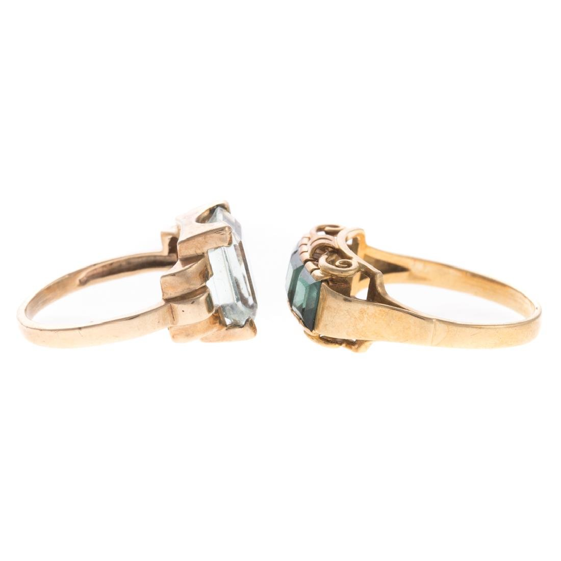 A Pair of Gemstone Rings in Gold - 2
