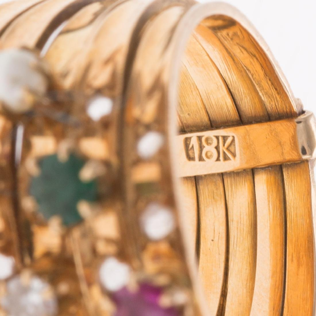 A Lady's 18K 5 Row Diamond & Gemstone Band - 5