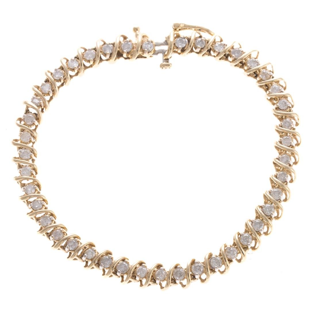 A Lady's Diamond Straight Line Bracelet in