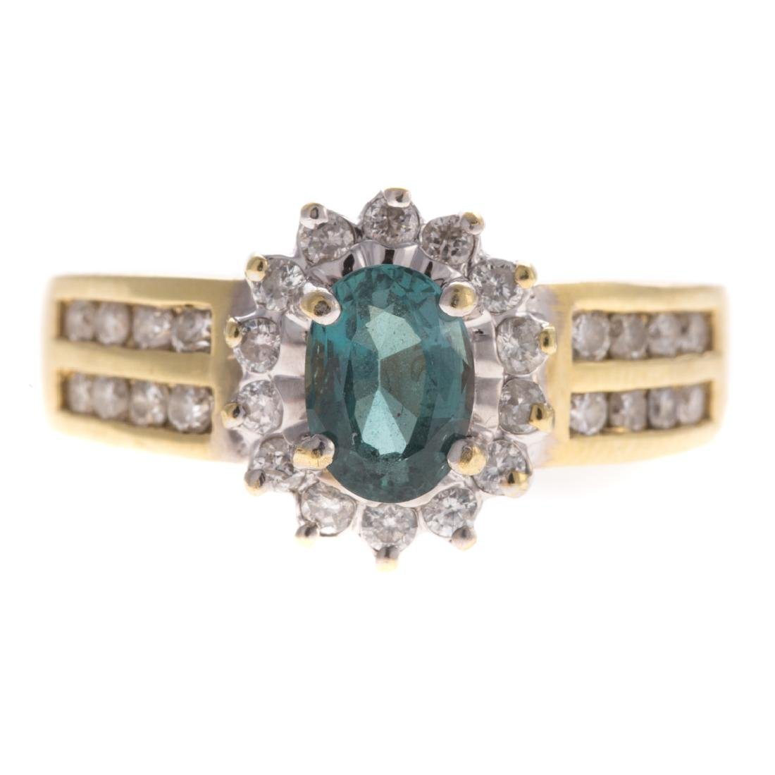 A Lady's Alexandrite & Diamond Ring in 18K Gold