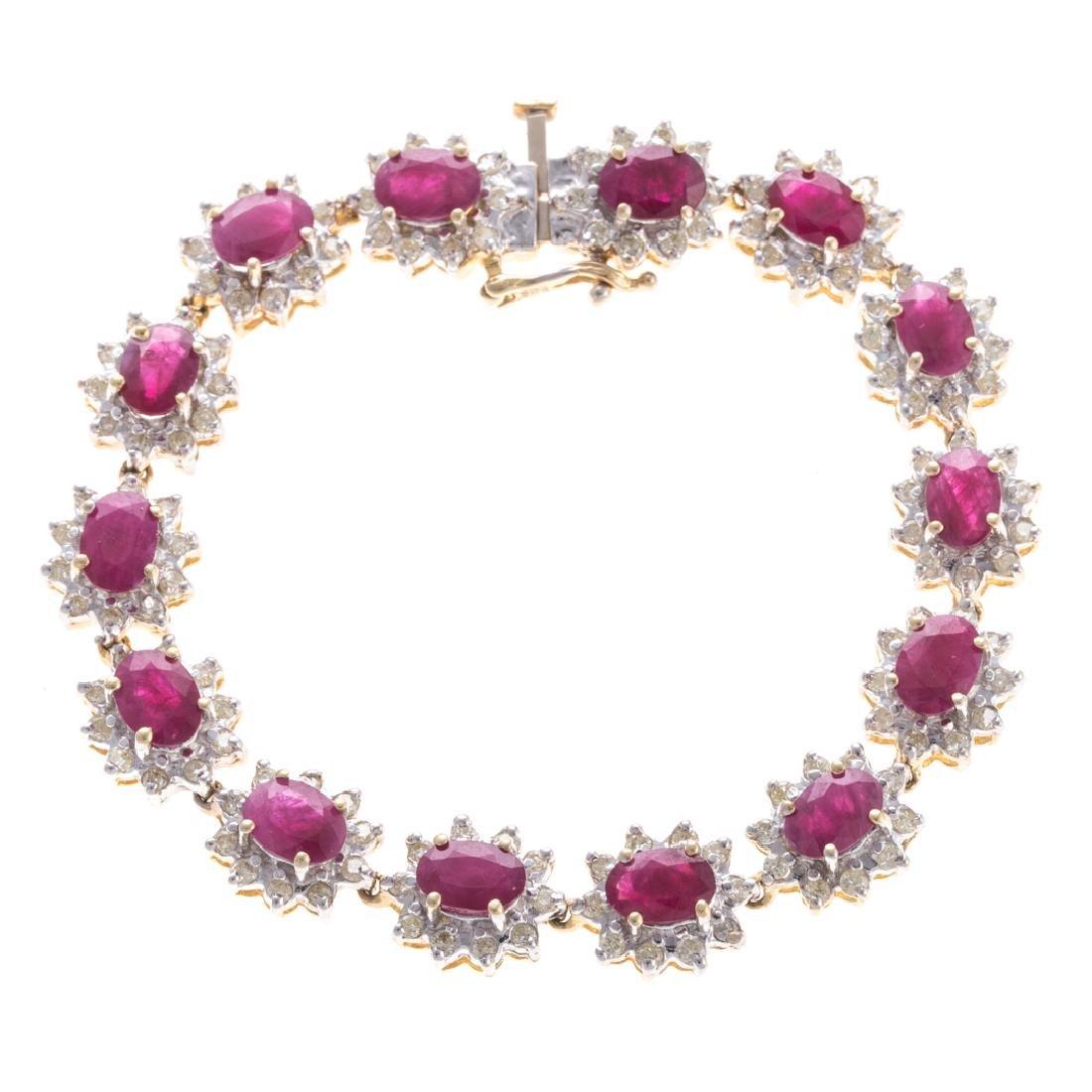 A Lady's Ruby & Diamond Bracelet in 14K Gold