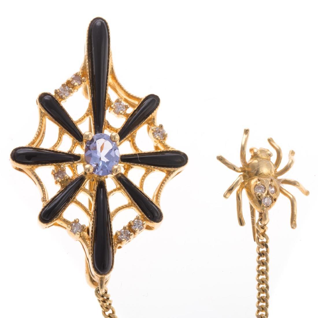 A Spider Web Pin with Diamonds & Tanzanite in 18K - 2