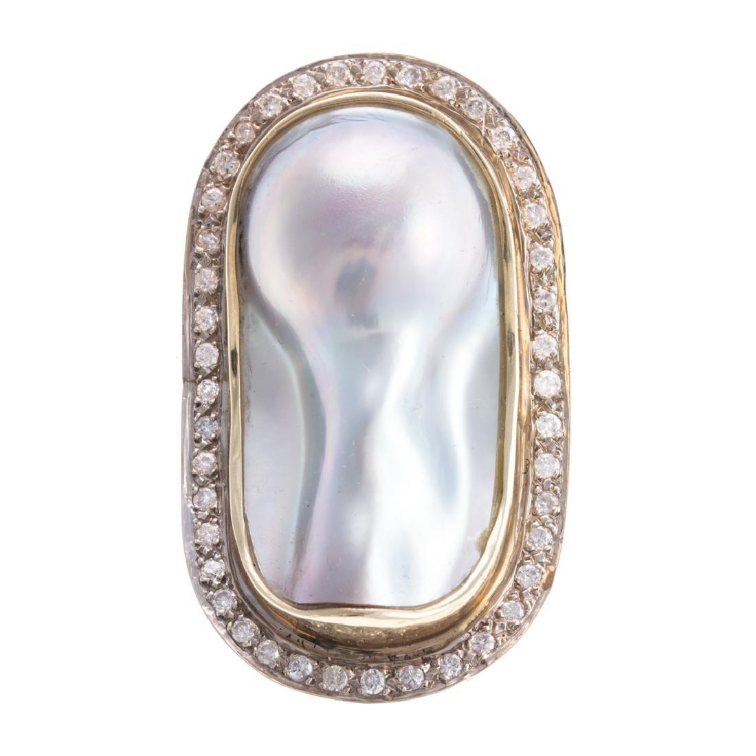 A Custom Made Keshi Pearl & Diamond Pin