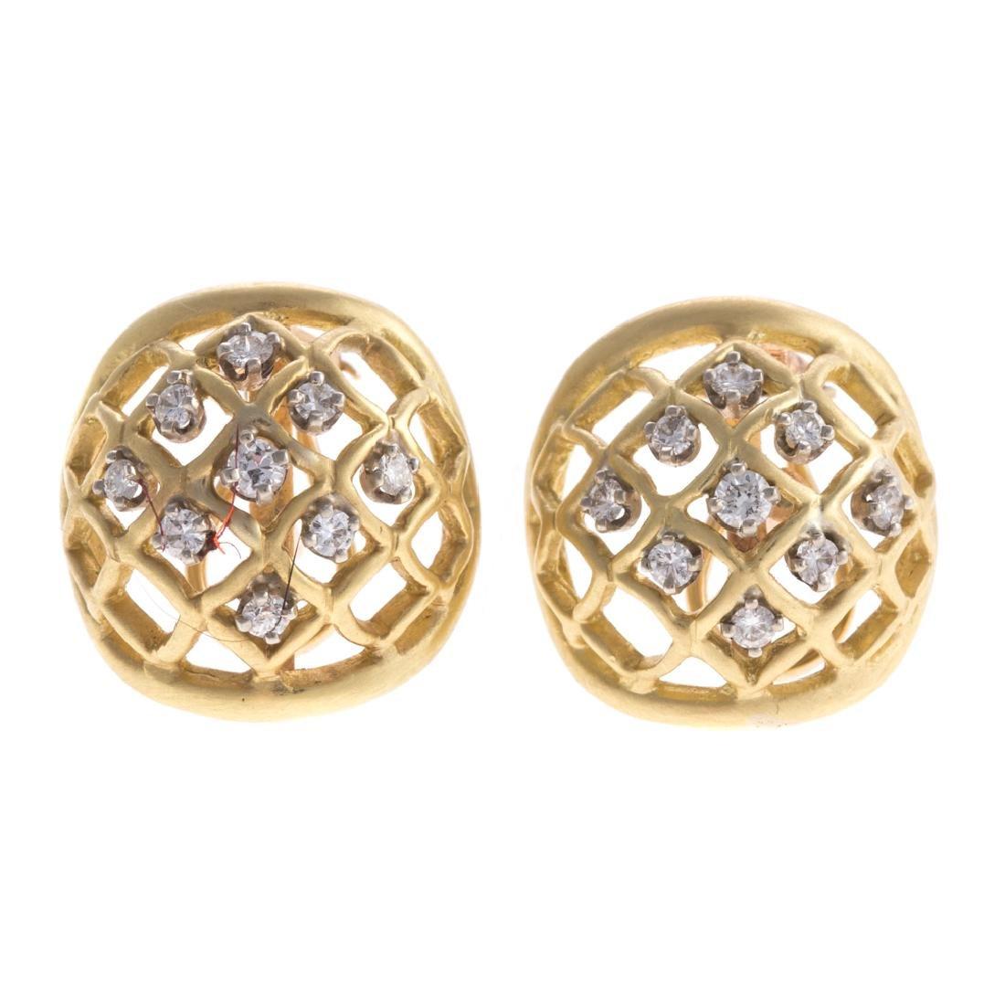 A Pair of Lady's 14K Lattice Diamond Earrings