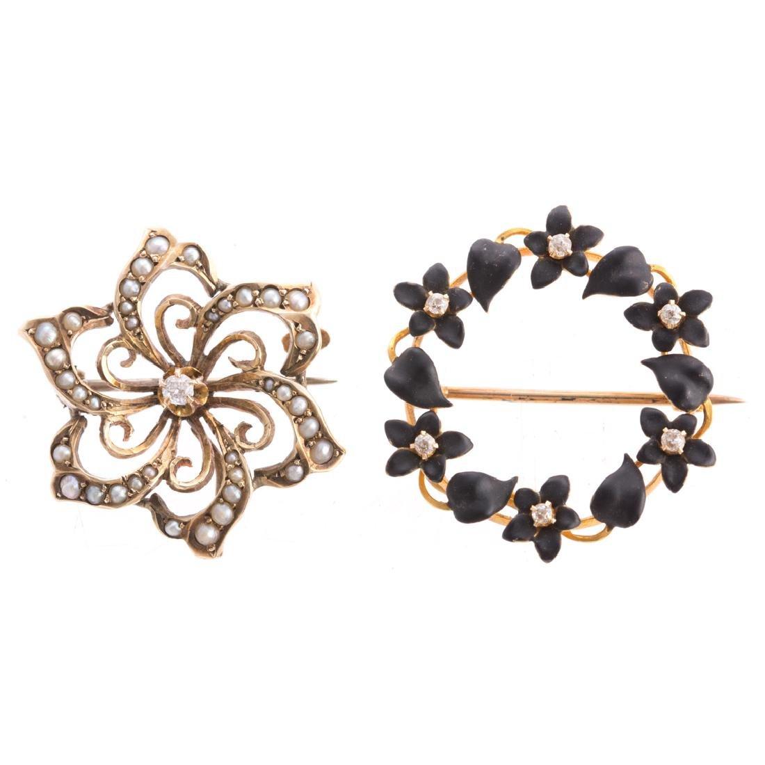 A Pair of Art Nouveau Enamel, Pearl & Diamond Pins