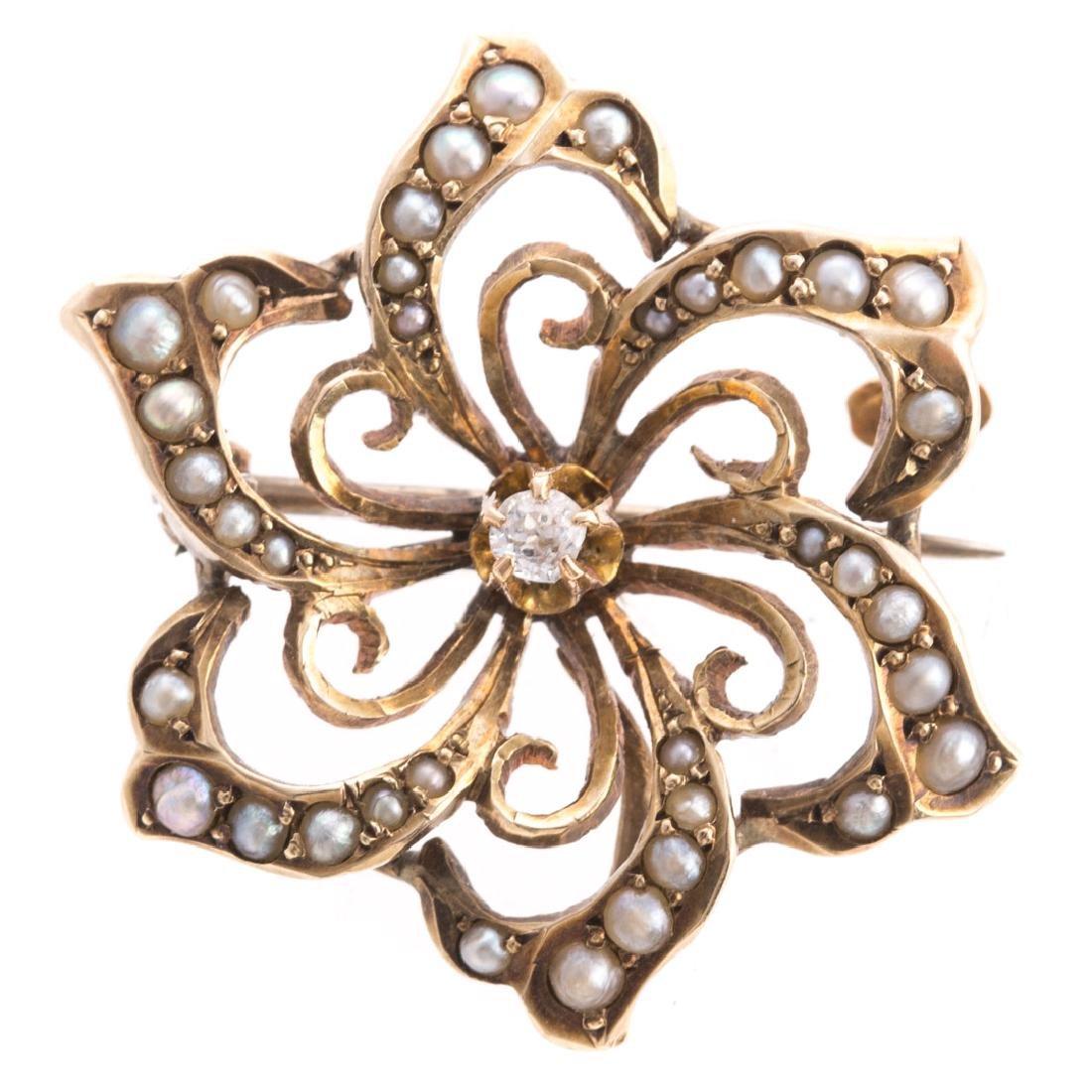 A Pair of Art Nouveau Enamel, Pearl & Diamond Pins - 2