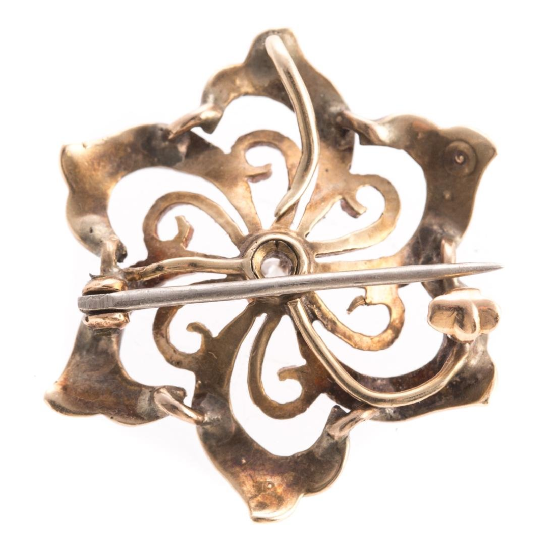 A Pair of Art Nouveau Enamel, Pearl & Diamond Pins - 3