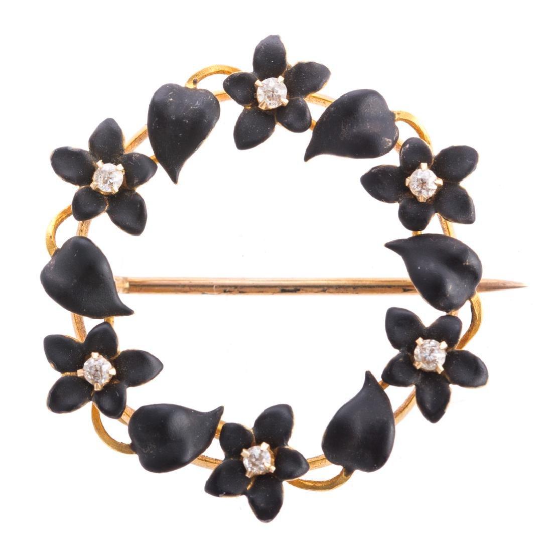 A Pair of Art Nouveau Enamel, Pearl & Diamond Pins - 4