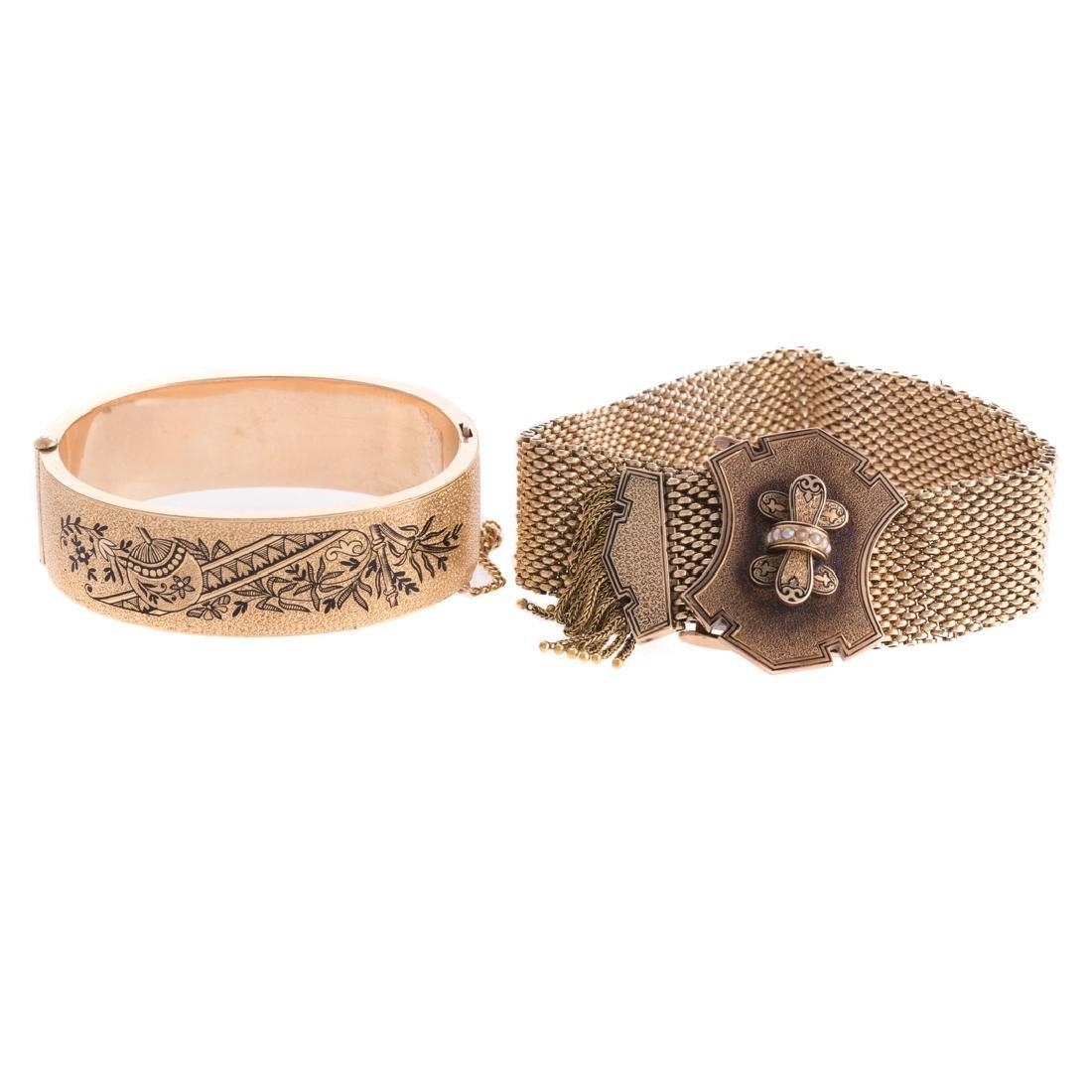A Pair of Victorian Gilt Bracelets