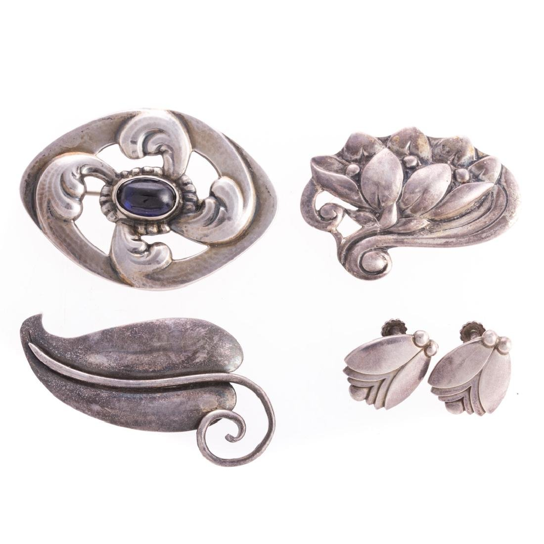 A Collection of Georg Jensen Silver Jewelry