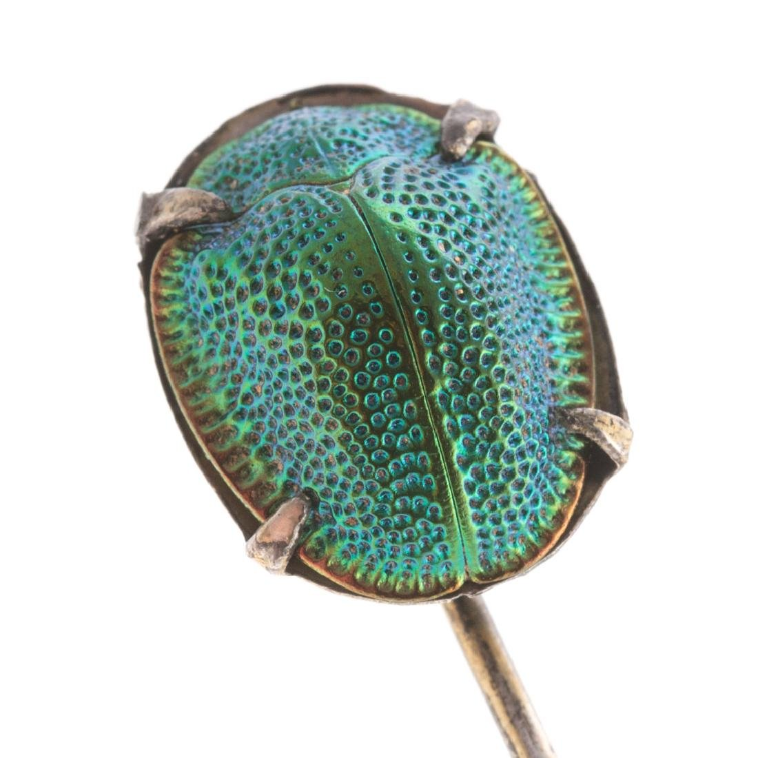 A Victorian Scarab Pin & Carved Dog Bar Pin in 14K - 7