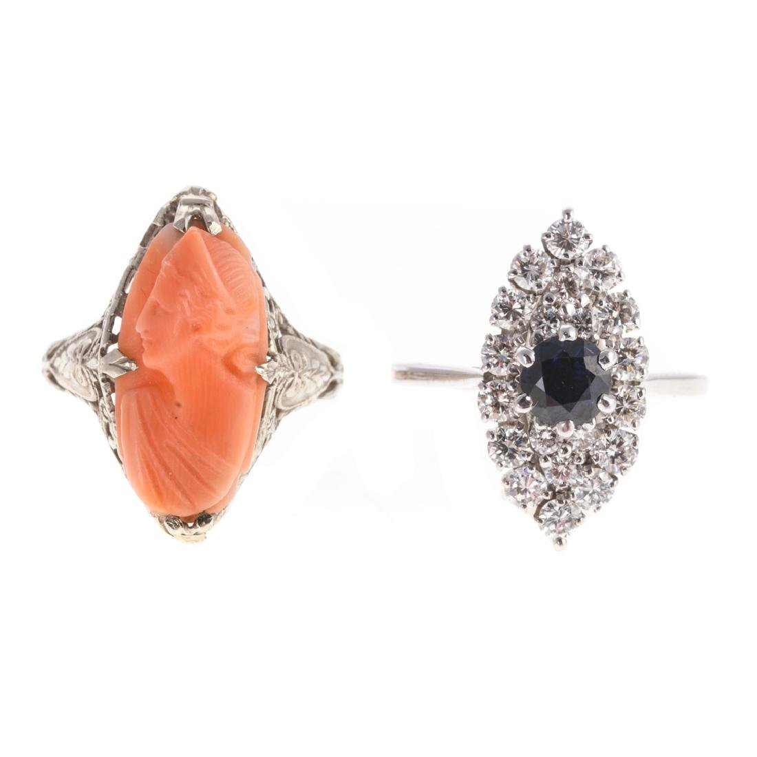 A Diamond & Sapphire Ring & Coral Ring in Gold