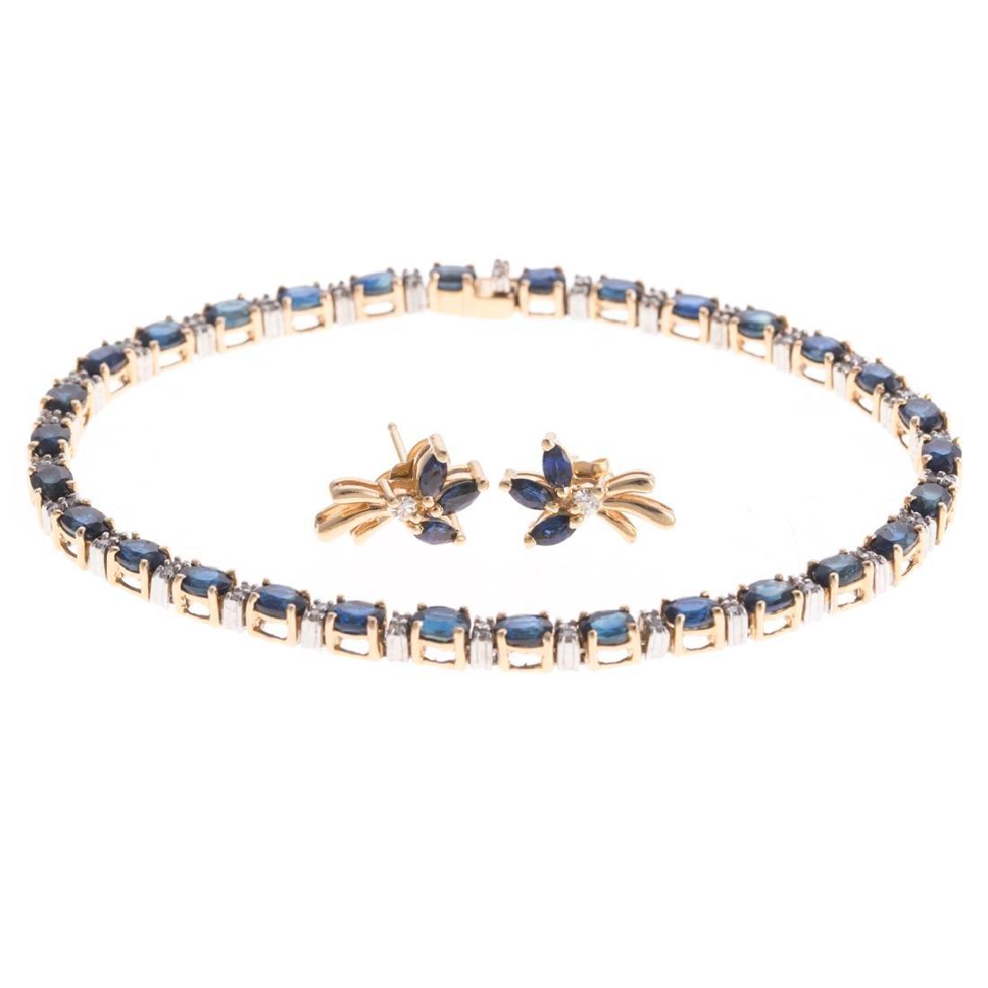 A Sapphire & Diamond Bracelet and Earrings in 14K