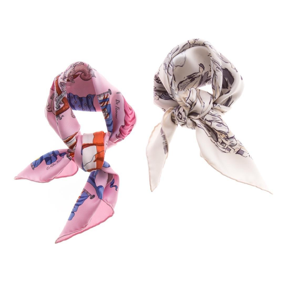 "Hermès ""Pavois"" scarf 40 & ""Paddock"" scarf 40"