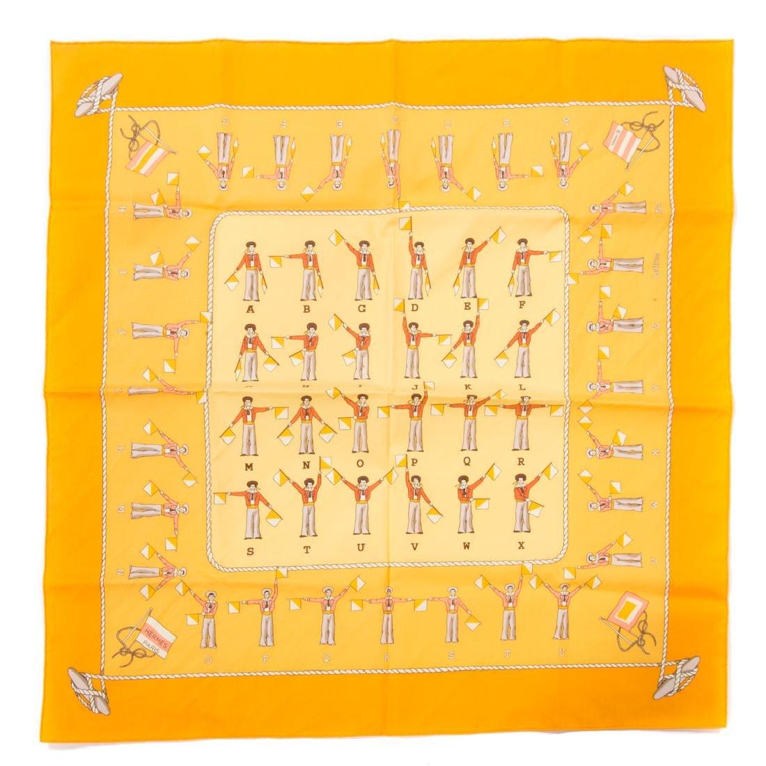 "Hermès ""Alphabet Nul"" Scarf 40 & Tulip Motif Scarf - 2"