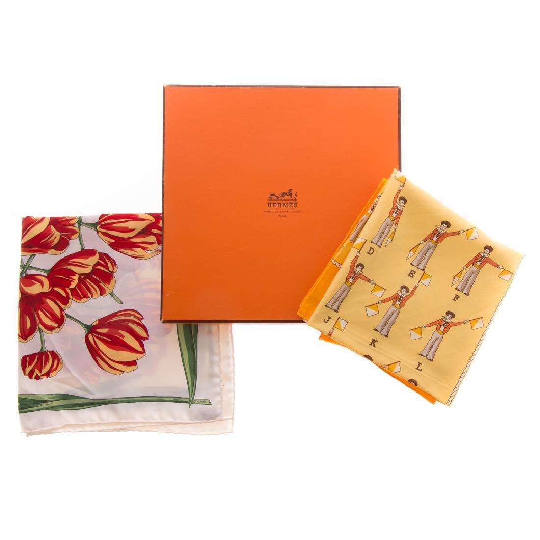"Hermès ""Alphabet Nul"" Scarf 40 & Tulip Motif Scarf - 4"