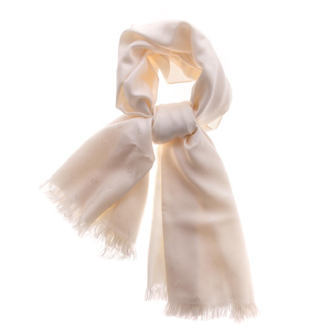 A Hermès Cream Tonal Insect Scarf Silk