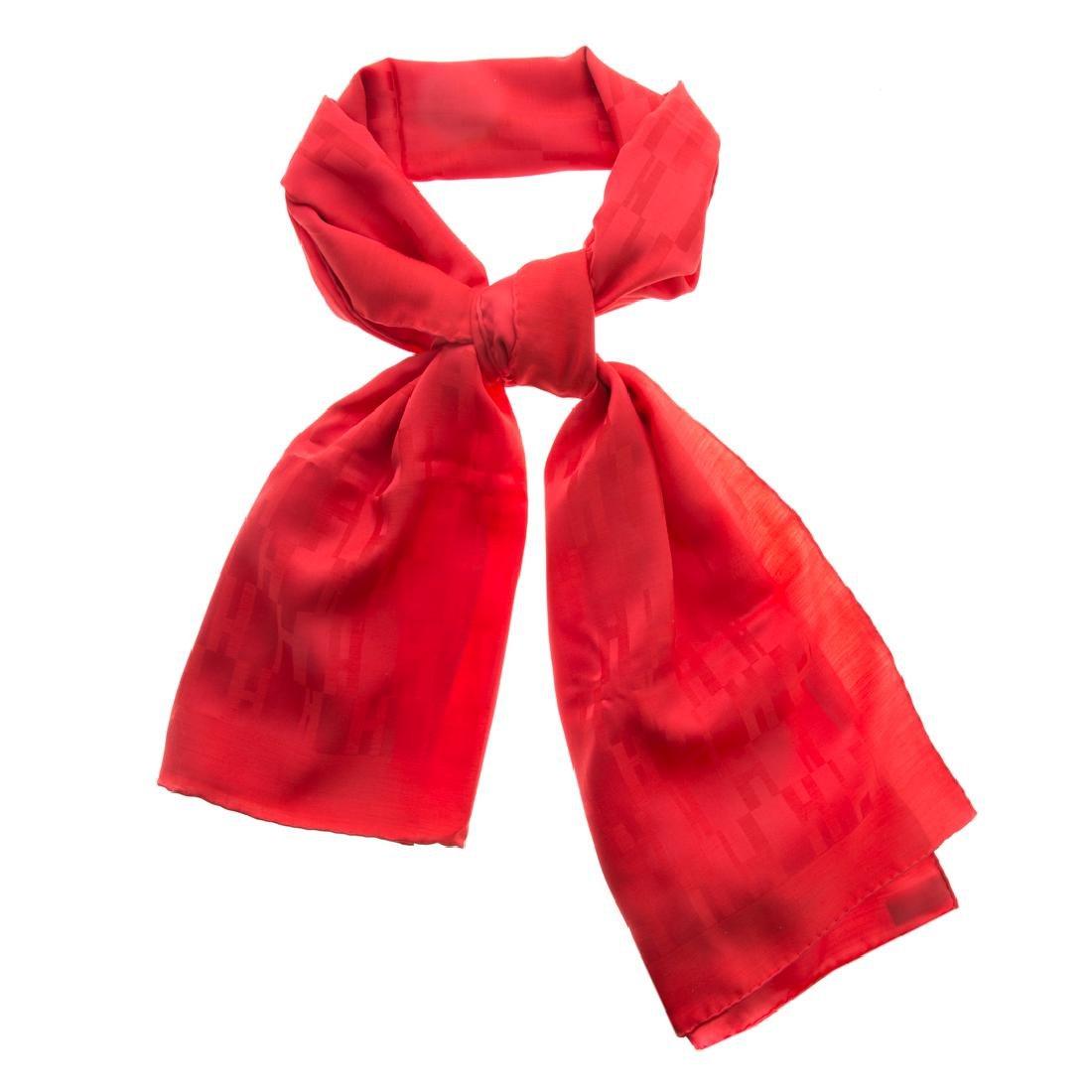 """A Hermès Silk & Wool Tonal Red """"H"""" Muffler"""