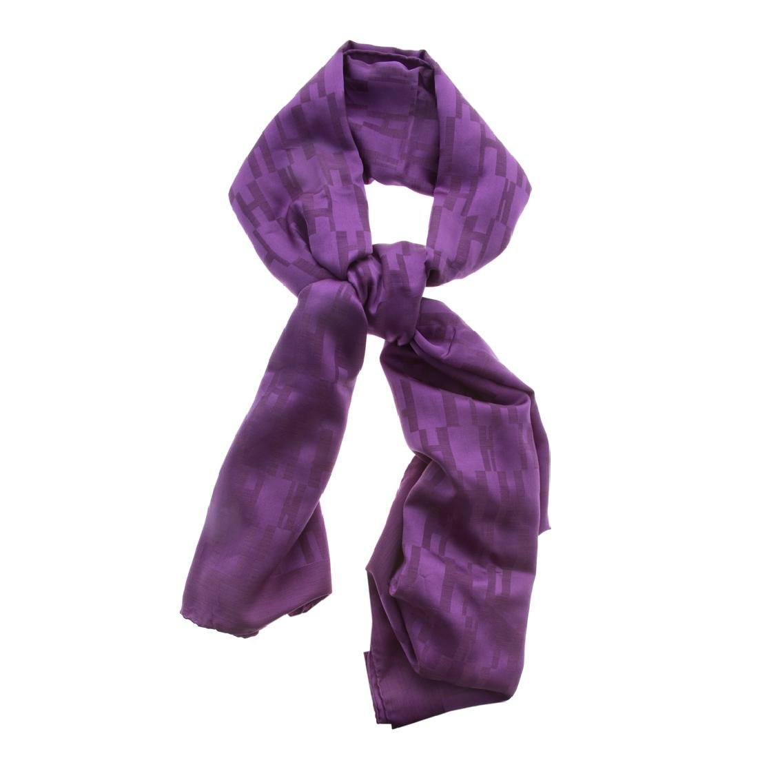"""A Hermès Silk & Wool Tonal Purple """"H"""" Muffler"""