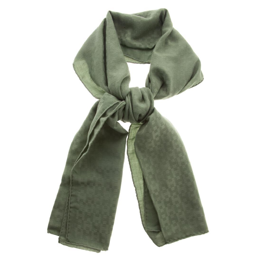 """A Hermès Silk & Wool Tonal Green """"H"""" Muffler"""