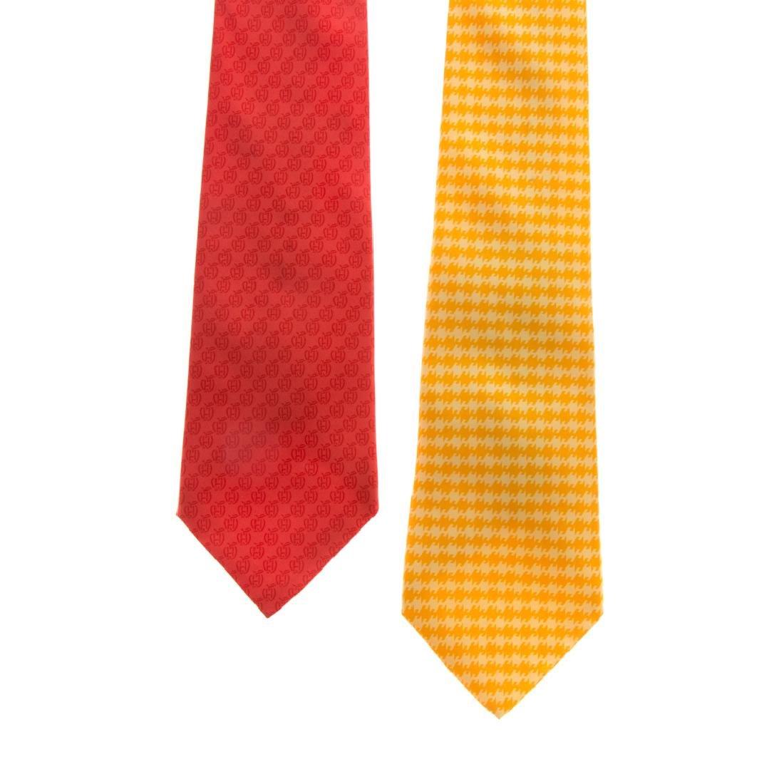 Hermès Apple Print Tie & Hounds Tooth Print Tie