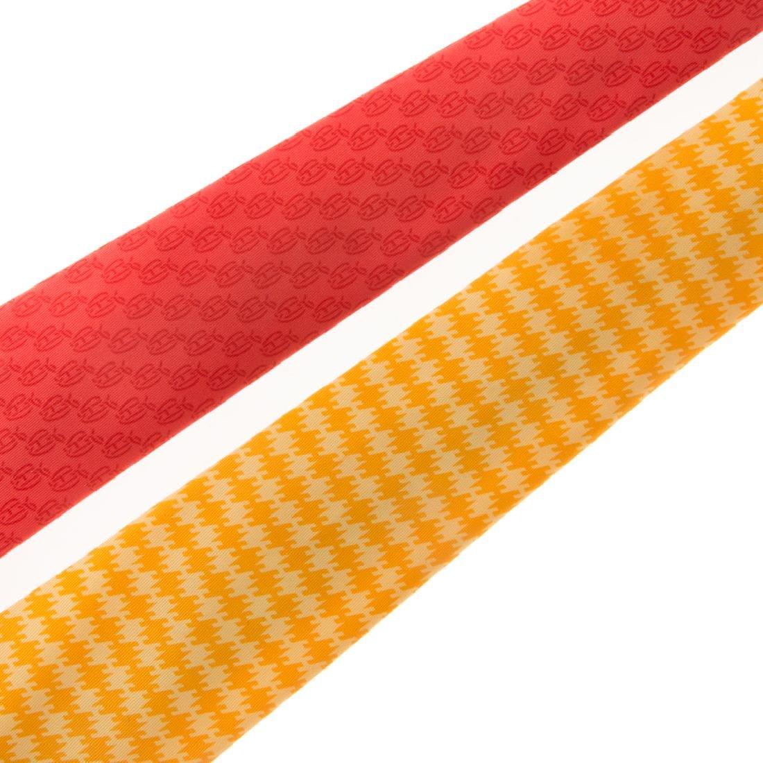 Hermès Apple Print Tie & Hounds Tooth Print Tie - 2