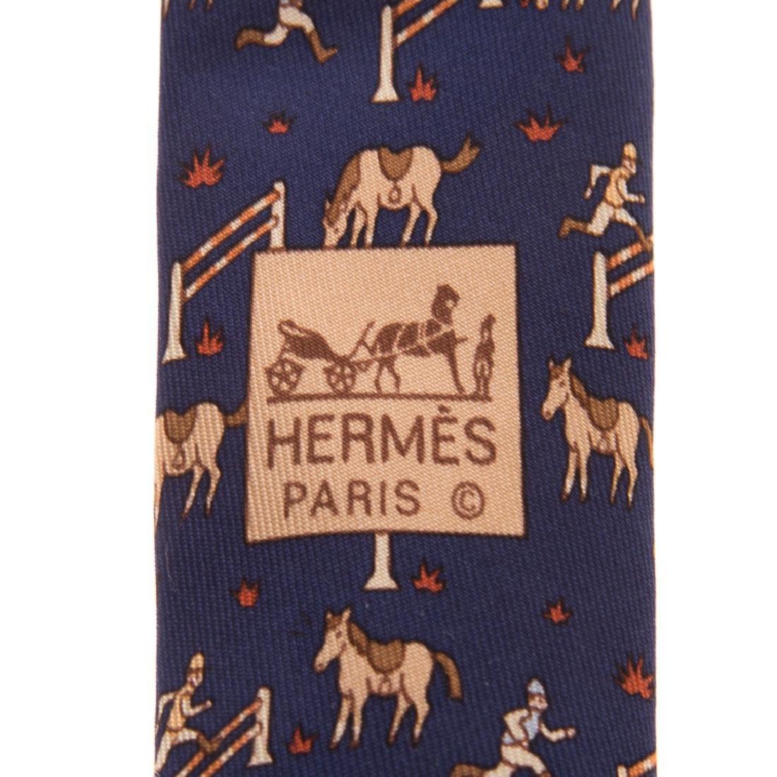 "Hermès ""Faconnee H"" Tie & ""Horse Racer"" Tie - 6"