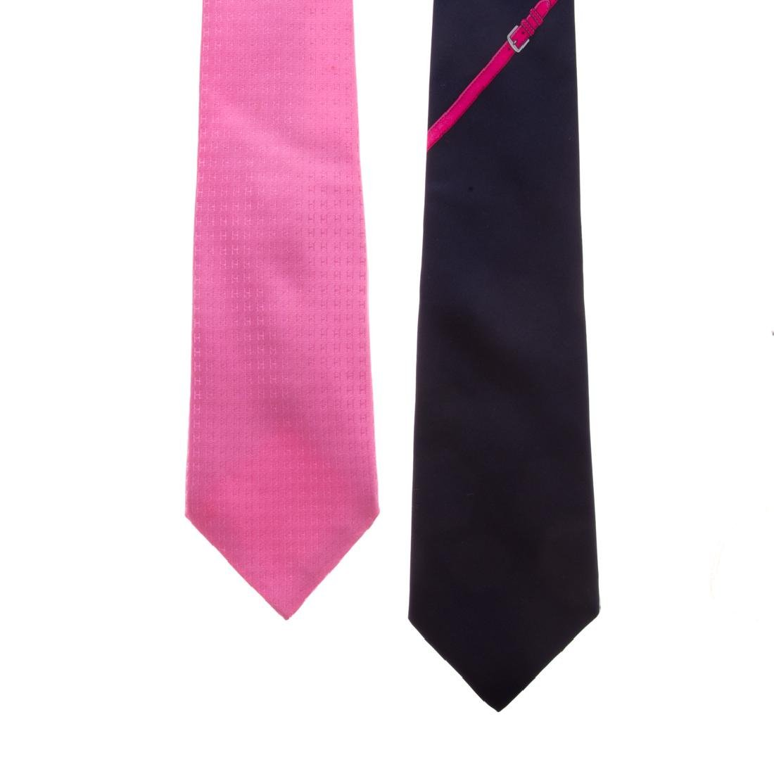 "Hermès ""Faconnee H"" Tie & Strap & Buckle Print Tie"
