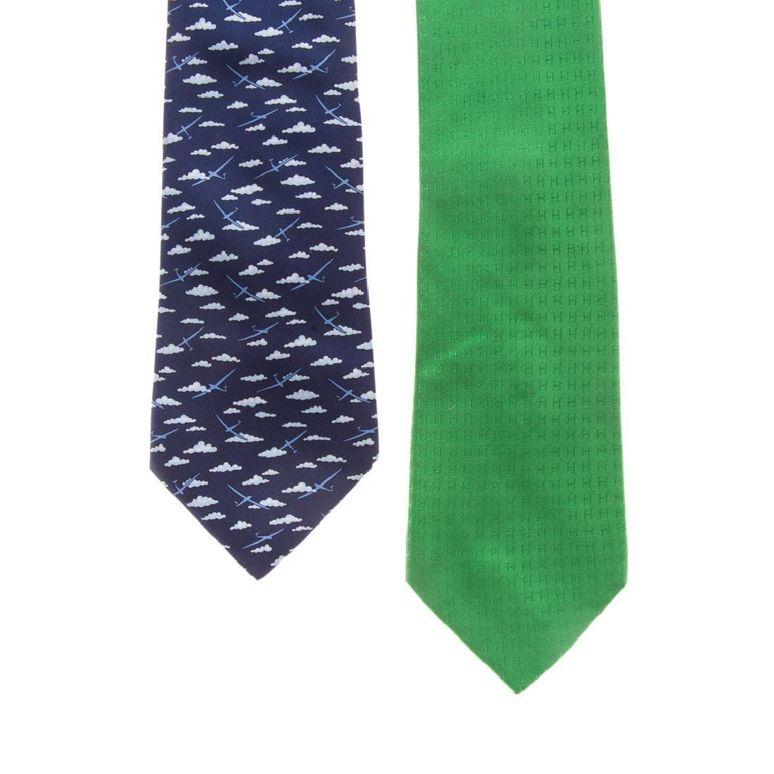 """Hermès """"Faconnee H"""" Tie & """"Glider Airplane"""" Tie"""