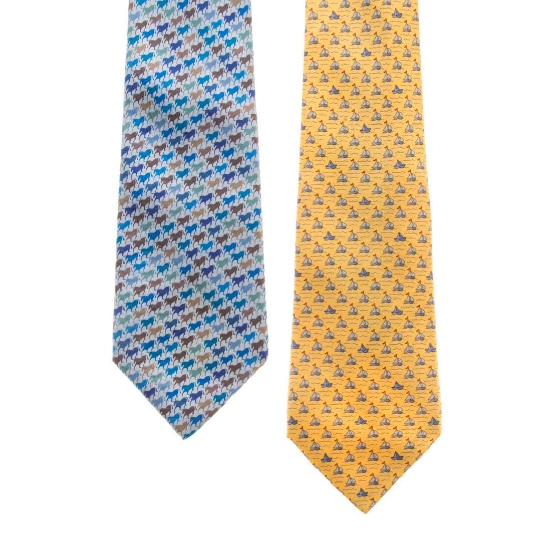 Hermès Horse Print Tie & Sailboat Print Tie