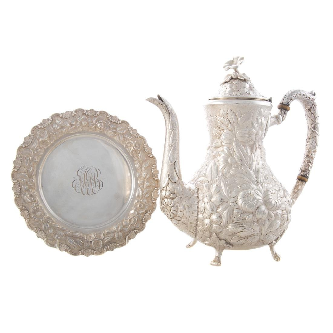 Stieff repousse sterling coffee pot & plate