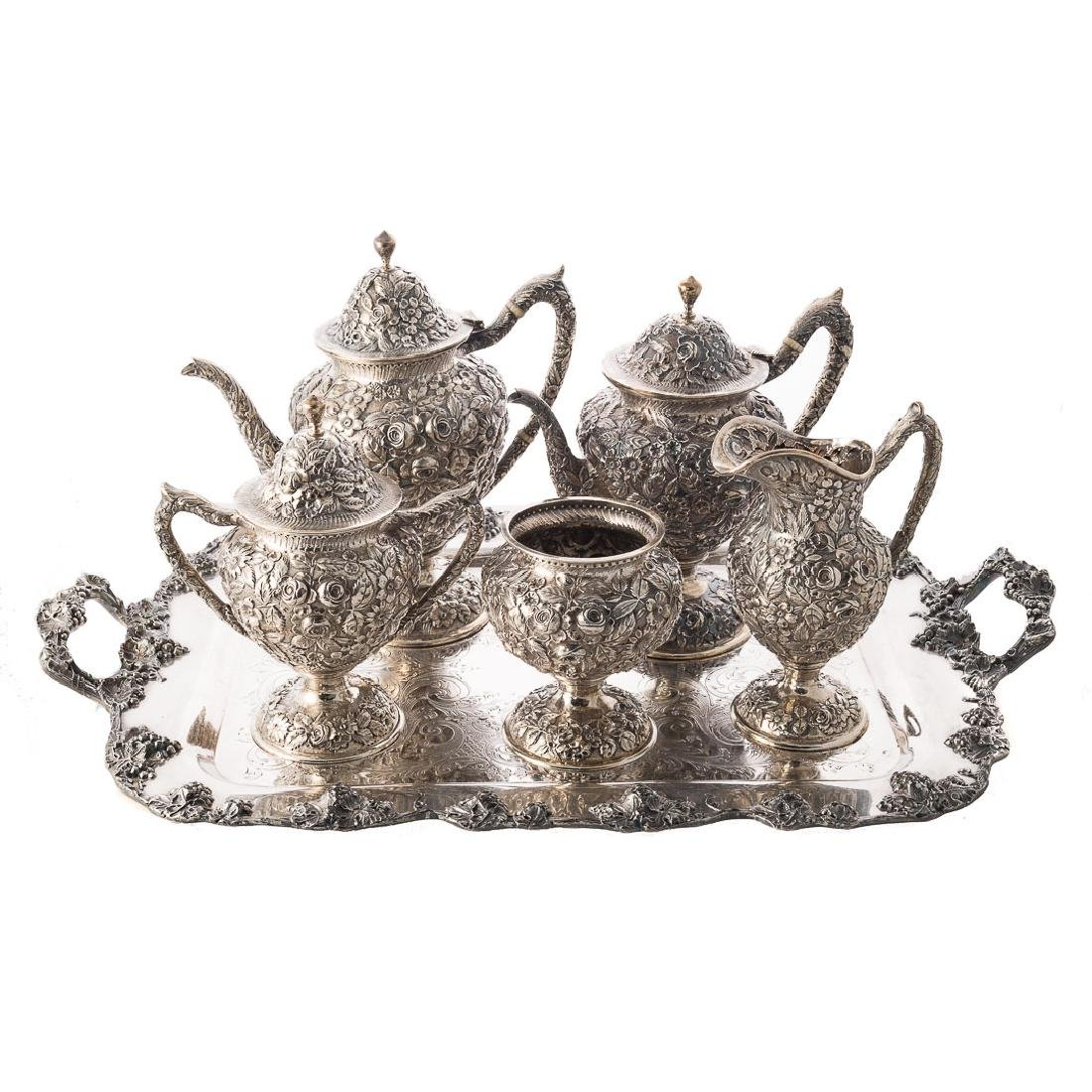 Early Baltimore repousse sterling coffee/tea set
