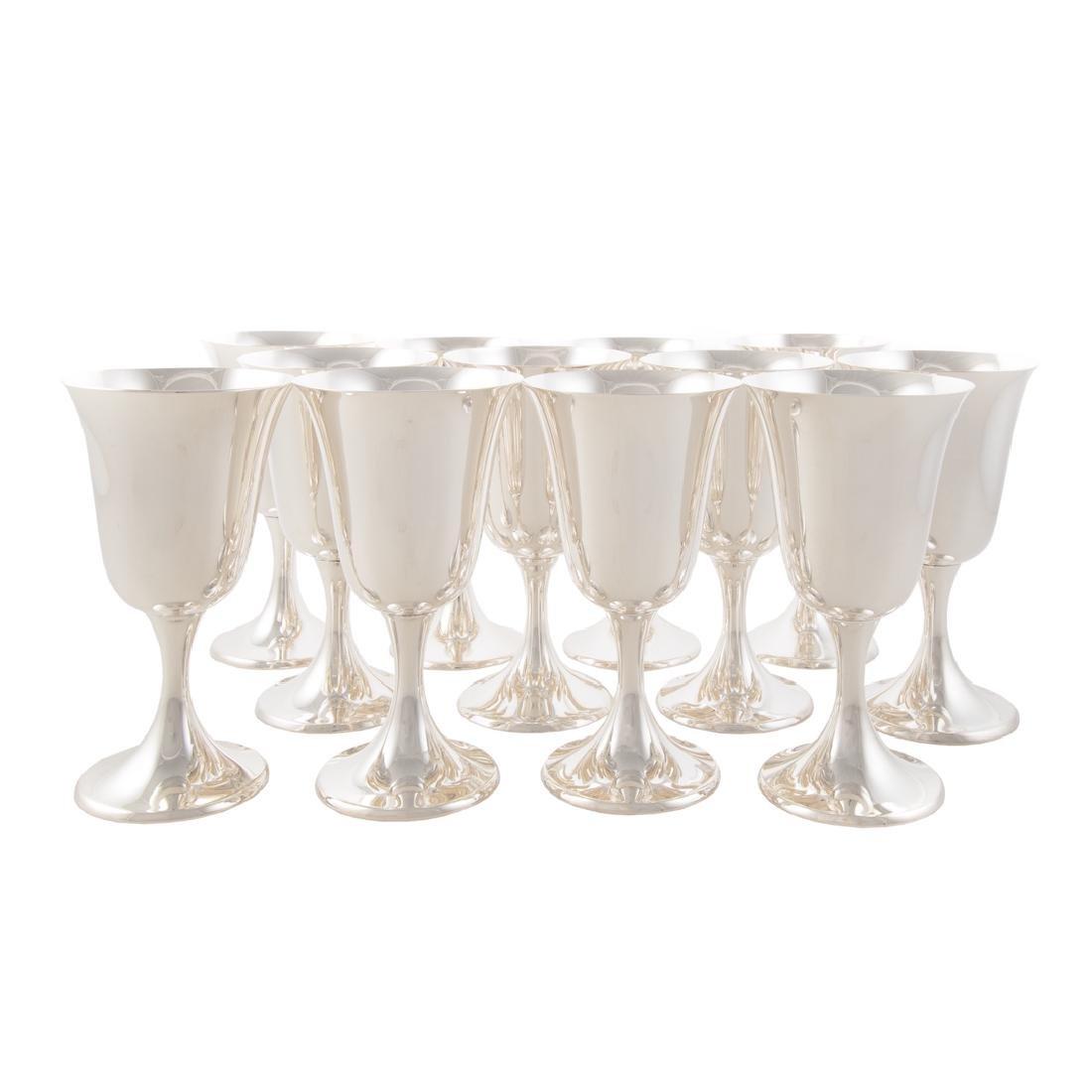 Set of 12 sterling water goblets Puritan pattern