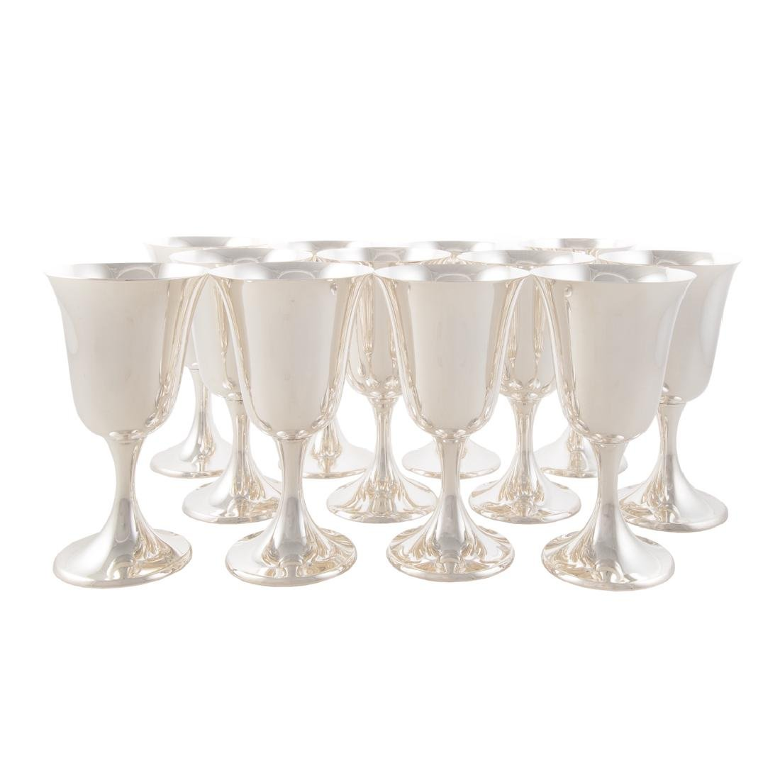 Set of 12 sterling water goblets Puritan pattern