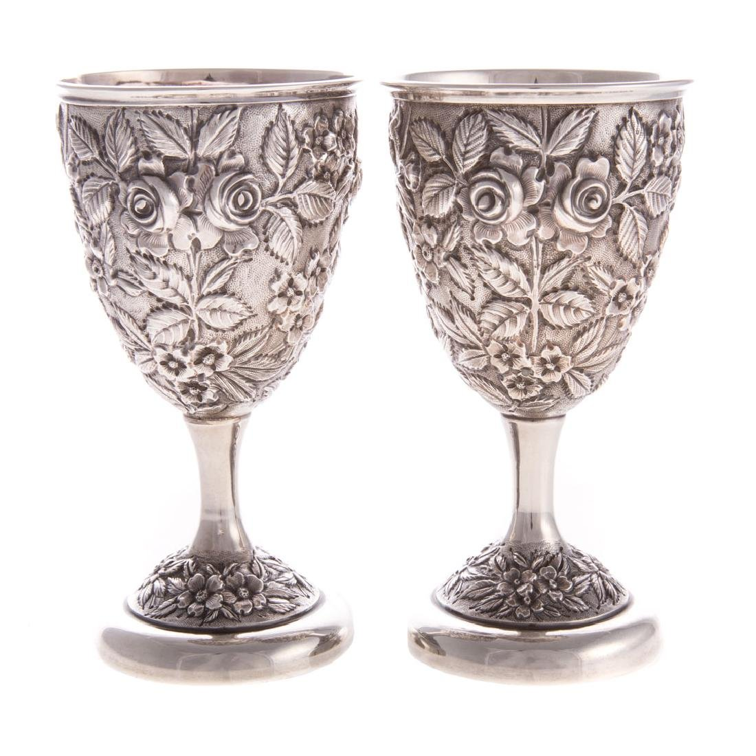 """Pair Schofield """"Baltimore Rose"""" sterling goblets"""